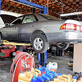 up on the rack at Gary's Automotive